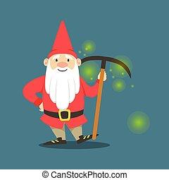 cute, anão, em, um, capa vermelha, e, chapéu, ficar, com, pickaxe, vetorial, ilustração