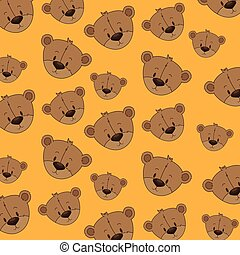 cute and adorable bear teddy pattern background