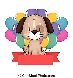 cute and adorable dog with balloons helium