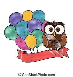 cute and adorable owl with balloons helium