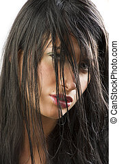 black wet hair