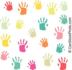 Cute and colorful baby palmprints pattern white background