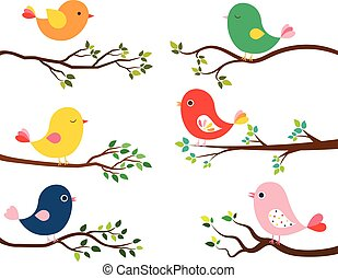 Cute and colorful vector birds in flat style on curvy spring or summer tree branches with green leaves on white background