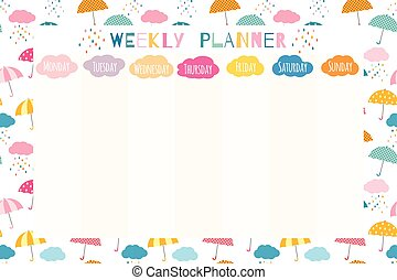 Cute and colorful weekly planner template, stationery organizer for daily plans and schedules