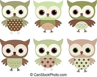 Cute and fun vector owl characters in flat style in earth colors for baby and kids designs, invitations and greeting cards