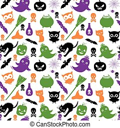 Cute and fun vector seamless pattern with silhouettes in black, green, orange and purple colors for Halloween designs and baclgrounds