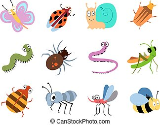 Cute and funny bugs, insects vector collection