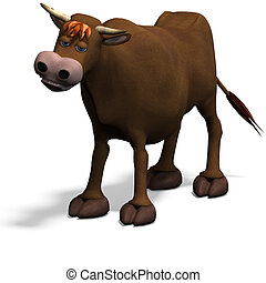 cute and funny cartoon bull. 3D rendering with clipping path...