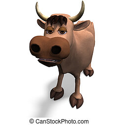 cute and funny cartoon bull. 3D rendering with clipping path and shadow over white
