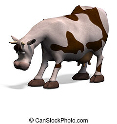 cute and funny cartoon cow. 3D rendering with clipping path...