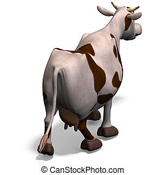 cute and funny cartoon cow. 3D rendering with clipping path and shadow over white