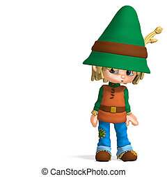 cute and funny cartoon farmer boy. 3D rendering with...