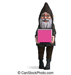 cute and funny cartoon garden gnome.3D rendering with clipping path and shadow over white