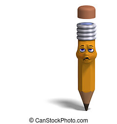 cute and funny cartoon pen with a lovely face. 3D rendering with clipping path and shadow over white
