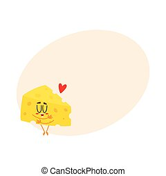 Cute and funny cheese chunk character showing love, hugging itself