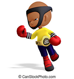 cute and funny childish cartoon boxer. 3D rendering with...