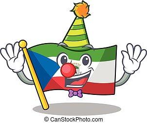 Cute and Funny Clown flag equatorial guinea Scroll cartoon ...