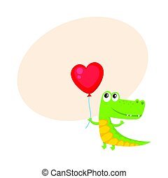 Cute and funny crocodile holding red heart shaped balloon