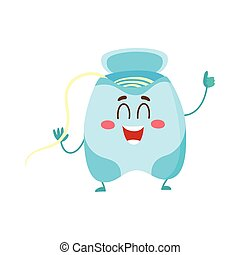 Cute and funny dental floss character giving thumb up