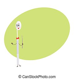 Cute and funny dental mirror character holding sickle explorer