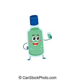 Cute and funny dental mouthwash, mouth rinse character...