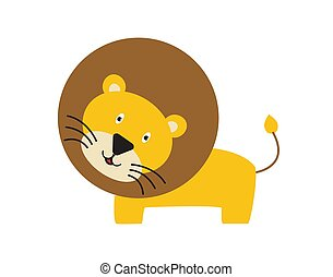 Cute and funny lion running and smiling - vector.