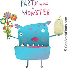 Cute and Funny Monster with Bunch of Flowers Fruit...
