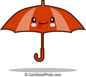Cute and funny open red umbrella character with smiling human face happy vector illustration isolated on white background. mascot, design element
