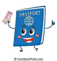 Cute and funny passport, identity document character,...