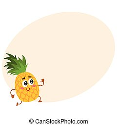 Cute and funny pineapple character running with thumbs up