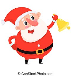 Cute and funny Santa Claus ringing golden Christmas bell