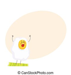 Cute and funny singing fried egg character