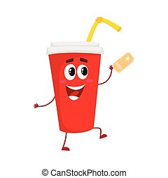 Cute and funny soda drink character with smiling human face