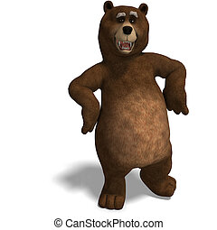 cute and funny toon bear. 3D rendering with clipping path...