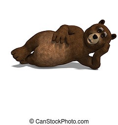 cute and funny toon bear. 3D rendering with clipping path ...