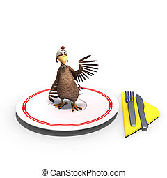 cute and funny toon chicken served on a dish as a meal. 3D rendering with clipping path and shadow over white