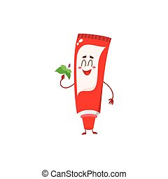 Cute and funny toothpaste character with smiling face