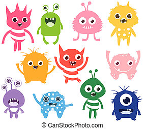 Cute and funny vector monsters or aliens in different colors. Colorful fun creatures for kids designs, fashion and greeting cards