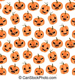 Cute and funny vector seamless pattern for Halloween with cartoon orange pumpkins with faces with different expressions on white background