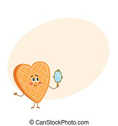Cute and funny waffke, wafer character looking into handheld mirror