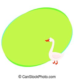 Cute and funny white farm goose, isolated cartoon vector...