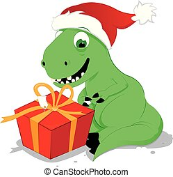 cute and happy baby dinosaur sitting in front of a present