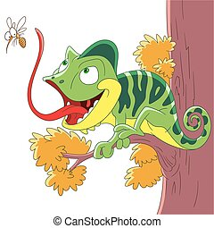 Cute and happy cartoon chameleon and mosquito, isolated on white background. Childish vector illustration and colorful book page for kids.