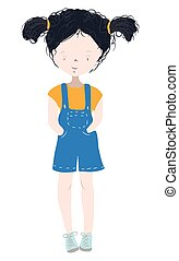 Cute and happy child, girl with curly black hair - Hand drawn vector illustration isolated on white
