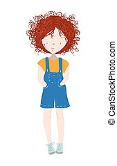 Cute and happy child, girl with curly red hair - Hand drawn vector illustration isolated on white