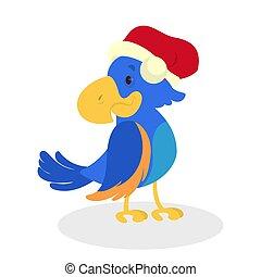 Cute and happy christmas bird in Santa hat