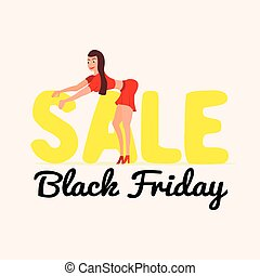 Cute and happy girl on sale Black Friday in a cartoon style....