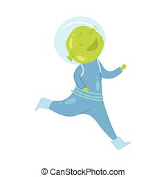 Cute and happy green alien in blue spacesuit running