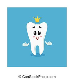 Cute and happy shiny white tooth character with golden crown