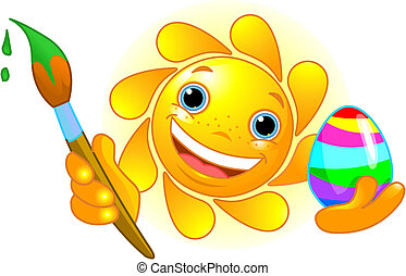 Sun coloring Easter Egg - Cute and happy Sun coloring Easter...